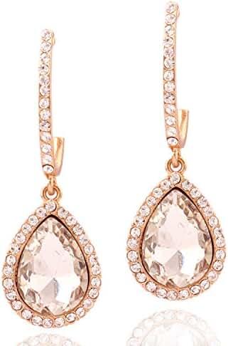 Topwholesalejewel Womens Earrings Rose Gold Teardrop Earring