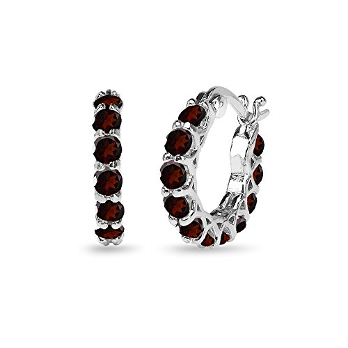 (Sterling Silver Garnet Small Round Huggie 18mm Hoop Earrings)