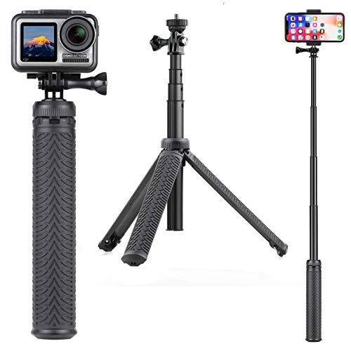 SOONSUN 3-in-1 Aluminum Telescoping Selfie Stick Waterproof Monopod Pole Handheld Grip with Tripod Stand for GoPro Hero 8, 7, 6, 5, 4, 3, 2, 1, Fusion, Session, AKASO, SJCAM Cameras and Cell Phones