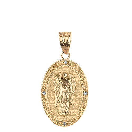 10k Yellow Gold Saint Gabriel The Archangel Diamond Oval Medal Pendant (Gold Saint Gabriel Medal)