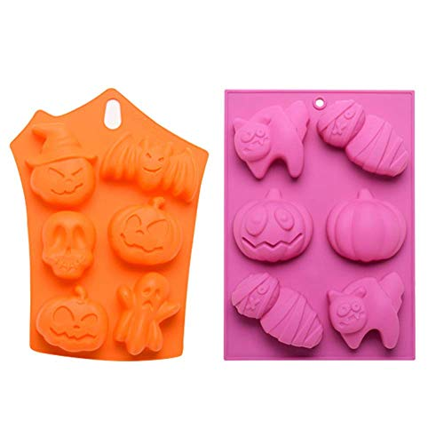 2 Pack Silicone Baking Mold Bat Pumpkin Face Skull Ghost Shaped Fondant Cake Pudding Chocolate Jelly Ice Cube Tray Heat Resistant Horrific Funny Cupcake Cookie Soap Molds Halloween (pink & orange) ()