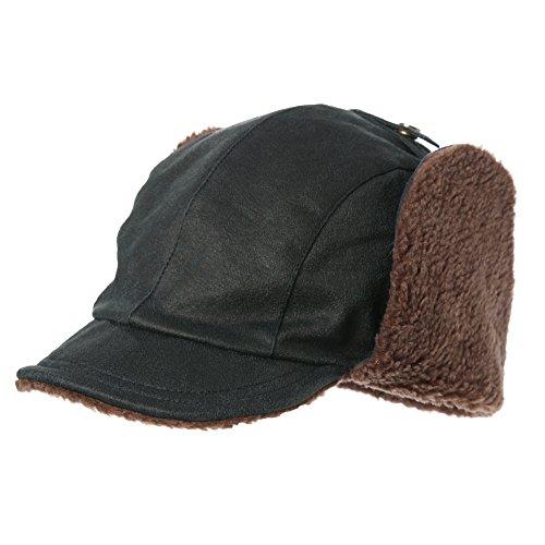 SIGGI Aviator Hat Faux Leather Pilot Cap Adult Men Winter Trapper ... 39943d6a569