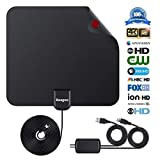 Digital TV Antenna Indoor HDTV Antenna 2018 Upgraded Version 4K 1080P HD 50+ Miles USB Powered Amplified Antenna with Signal Booster for All Types of Home Smart Television. (Black)