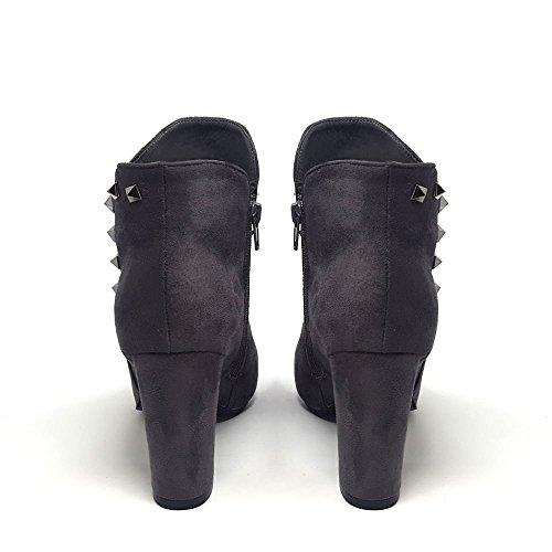 Studded Freya Stivaletto Suedette Women Ladies Block Dettaglio Medium Grigio Heel qgXqrx40