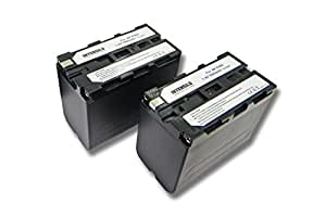 INTENSILO 2x Li-Ion batería 7800mAh (7.4V) para videocámara Sony DSR-200, DSR-300, DSR-PD100A por NP-F960, BP-10.