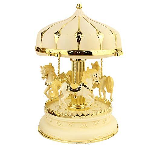 (CMrtew Carousel Music Box Color LED Light Flashing Luminous Rotating 3-Horse Melody Music Box Valentine's Day Birthday (Ship from USA) (Yellow))