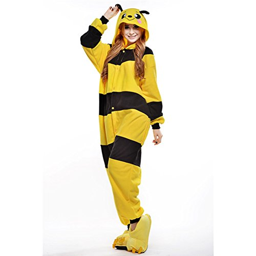 Free Fisher Damen/ Herren Schlafanzug Pyjama, Tier Kostüm, Biene Gelb, Gr. L (Körpergröße 170-178 CM)