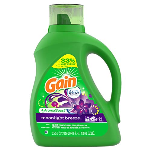 Gain Liquid Laundry Detergent with Febreze Freshness, Moonlight Breeze, 64 Loads 100 fl oz(Packaging May Vary)