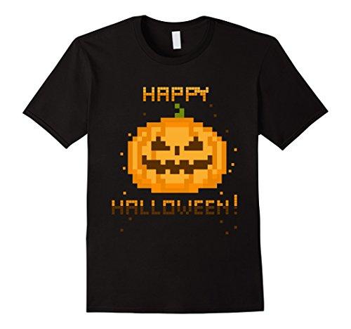 [Men's Video Gamer Pixel Jack-O-Lantern Halloween Costume T-Shirt 2XL Black] (Joker Halloween Costume Nurse)