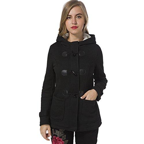 Blend Hooded Toggle Wool (SLLSKY Women's Casual Winter Fleece Warm Wool Blend Hooded Outdoor Toggle Pea Coat Black 4)