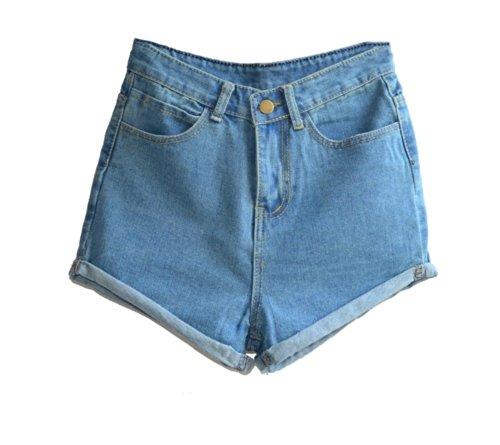 Juniors's Denim Vintage Retro High Waist Jeans Short