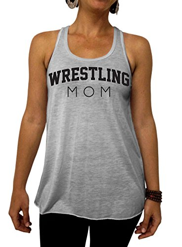Wrestling Mom Flowy Tank Top - Large Gray Black Ink by Dentz Design