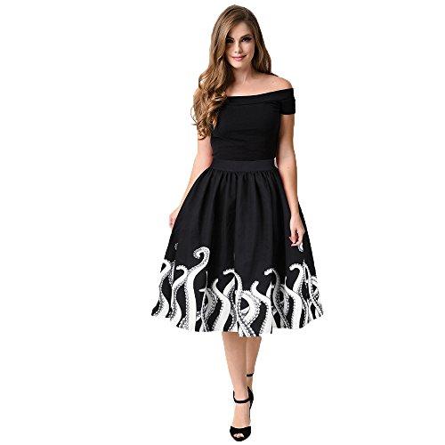 iZHH Women's Mini Knee Length Skater Skirt Octopus Squid Fancy Print Pattern(Black,XL) -