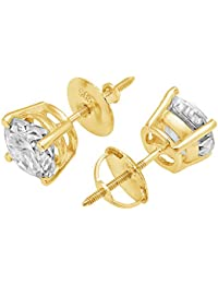 4.0 ct Brilliant Round Cut Solitaire Highest Quality Moissanite Anniversary gift Stud Earrings Real Solid 14k Yellow Gold Screw Back