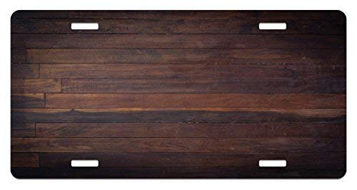 Fabri.YWL Chocolate License Plate, Aged Weathered Dark Timber Oak Wooden Planks Floor Image Country Life Carpentry, High Gloss Aluminum Novelty Plate, 6 X 12 Inches, Dark Brown