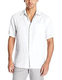 Men's Short Sleeve 100% Linen Plainweave Button-Down Shirt with Pocket