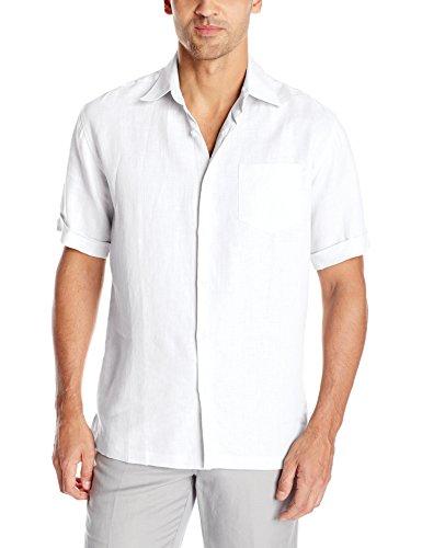Cubavera Men's Chest Pocket Solid Short Sleeve Woven Shirt, Bright White, XX-Large (Woven Shirt Sleeve)