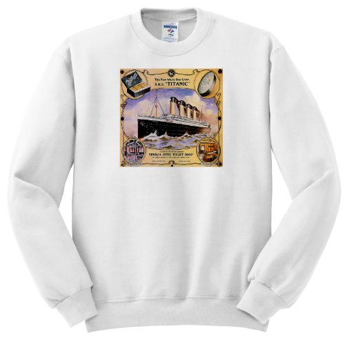 BLN Vintage Ocean Liners Advertising Posters - Vintage White Star Line Titanic Vinolia Otto Toilet Soap Advertising Poster - Sweatshirts - Youth SweatShirt Large(14-16)