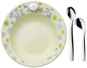 Auerhahn 22 6101 0204 Farmily - Vajilla infantil (3 piezas: 1 plato térmico y 2 cucharas, plástico y acero inoxidable 18/10)