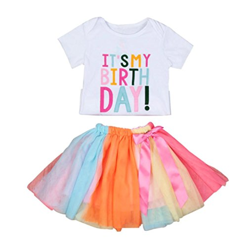 Hello Kitty Tutu Outfit (Girls Clothes Odeer 2017 Baby Girls Birthday Embroidery T-Shirt +Rainbow Tutu Skirt Set Outfits Clothes (ღ Size : 4 Toddle))