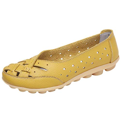Boomboom Women Shoes, Soft Lady Flats Sandal Leather Ankle Casual Slipper Single Shoes Yellow US 7