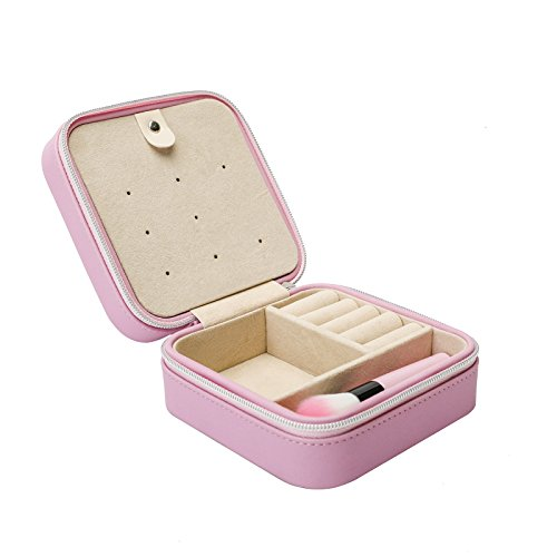 Leather Jewelry Gift - Vander Jewelry Box By Faux Leather Travel Jewelry Case for Rings Earrings Necklace With 5Pcs Mini Makeup Brushes Valentine's Day present Valentine's Day gift(Pink)