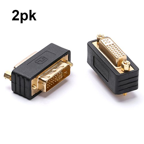 DVI adapter dvi-d male to dvi-i female port saver compact moulded gold plated 2 pack