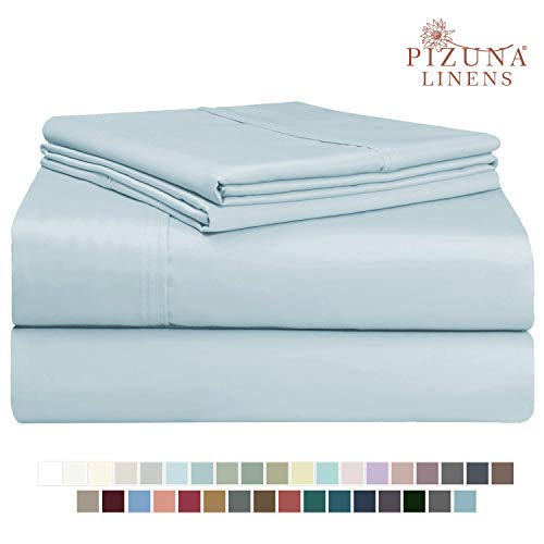 Pizuna 400 Thread Count King Sheets Set Cotton Light Blue, 100% Long Staple Combed Cotton Sheets, Cotton Sateen Sheets Cotton fit Upto 15 inch Deep Pocket (Baby Blue 100% Cotton Sheets King)