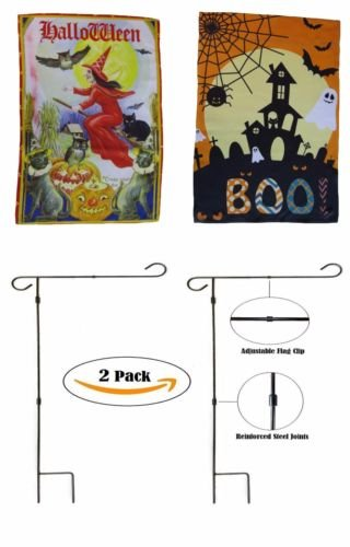 Moon Knives Wholesale Combo 12''x18'' Happy Halloween #13 Sleeved w/Garden Stand Flag - Party Decorations Supplies For Parades - Prime Outside, Garden, Men Cave Decor Flag]()