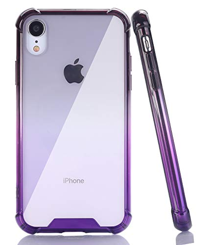 Purple Hard Plastic Cover - BAISRKE Black Purple Gradient Slim Shock Absorption Protective Cases Soft TPU Bumper & Hard Plastic Back Cover for iPhone XR 2018 [6.1 inch]