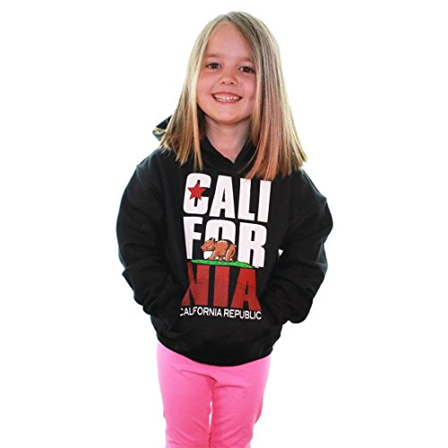 California Republic Retro Text Hooded Youth Sweatshirt/Hoodie - Black Small