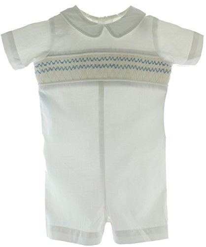 Boys White Smocked Romper with Blue Smocking