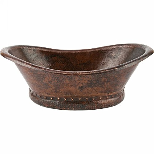 Premier Copper Products VBT20DB Bath Tub Vessel Hammered Copper Sink, Oil Rubbed - Vessel Copper Sink Bronze