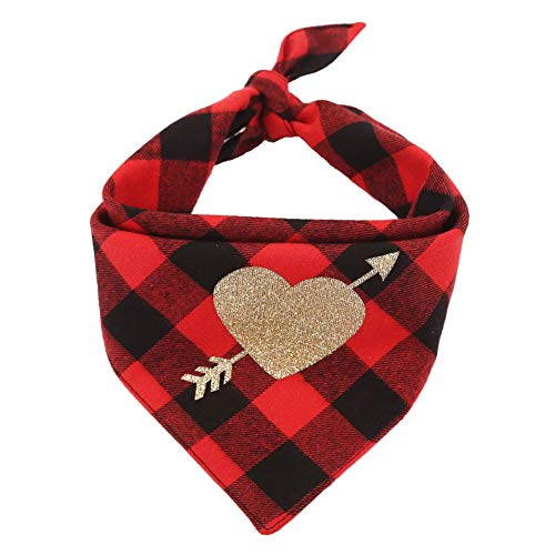 CheeseandU Valentines Day Pet Bandana with Cute Glitter Arrow Heart in Plaid Bandana Double Cotton Triangle Scarf Pet Holiday Bib Valentine's Gift Dressup for Small Medium Dogs Cats, Red&Black&Gold ()