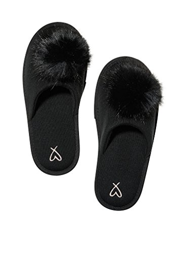 Victorias Secret Pom Pom Pretty Slippers Black- Large 9/10 v1DN3FLaqr