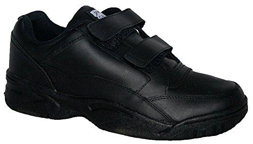 Leder Herren mit breite Noir Passform Sohle Obermaterial keine Turnschuh Velcro Rutsch RFACSxBnqw