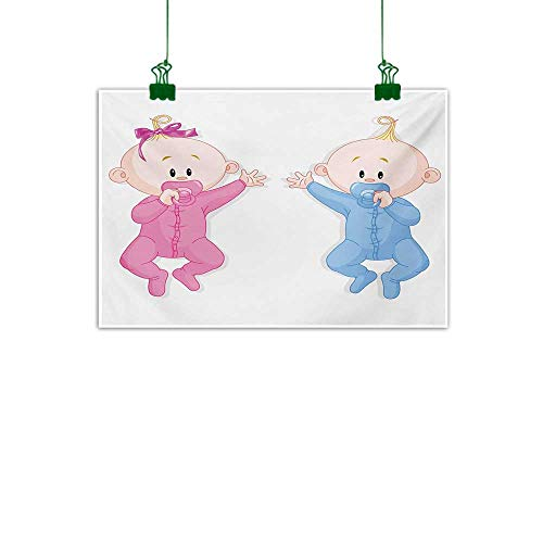 (Anzhutwelve Gender Reveal,Wall Decor Babies Lie and Keep The Pacifiers Lovely Toddlers Sweet Childhood Wall Hanging Decoration Pink Blue and Peach W 40