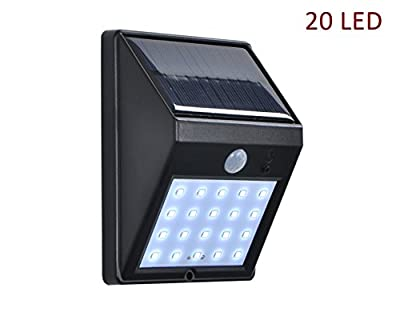 Super Bright 20 LED Solar Street Lights, Jokitech Motion Sensor Wall Light Bright Weatherproof Wireless Security Outdoor Light with Motion Activated ON/OFF for Step, Garden, Yard, Deck --- 1 PACK