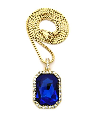 Fashion 21 Gold-Tone Iced Out Square Sapphire Blue Color Stone Pendant 2mm 24