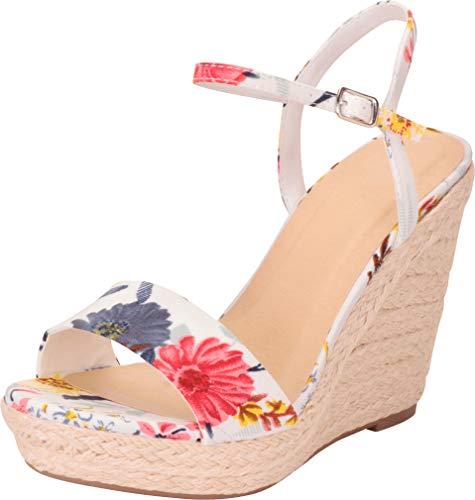 Cambridge Select Women's Open Toe Chunky Espadrille Platform Wedge Sandal,9 B(M) US,White Flower