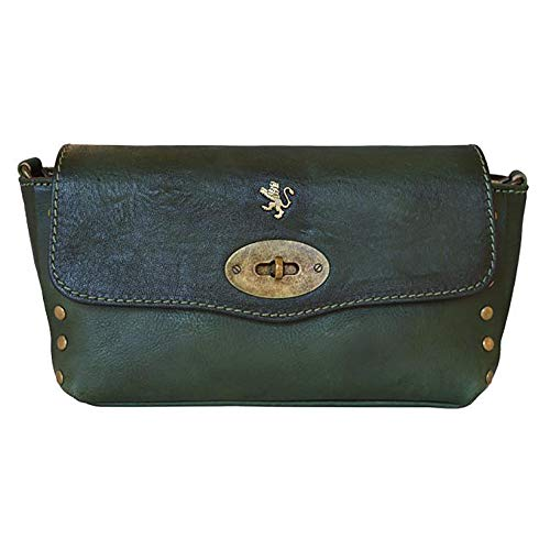 Pratesi S.bernardo Grand sac à main en cuir véritable - B160 / g Bruce (bleu clair) Vert foncé