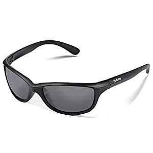 Duduma Polarized Sports Sunglasses for Baseball Running Cycling Fishing Golf Tr90 Durable Frame (541 black matte frame with black lens)