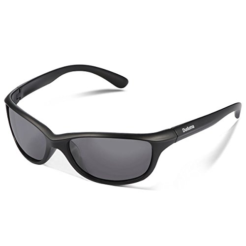 Duduma Polarized Sports Sunglasses for Baseball Running Cycling Fishing Golf Tr90 Durable Frame (541 black matte frame with black lens) (Sunglasses Sport)