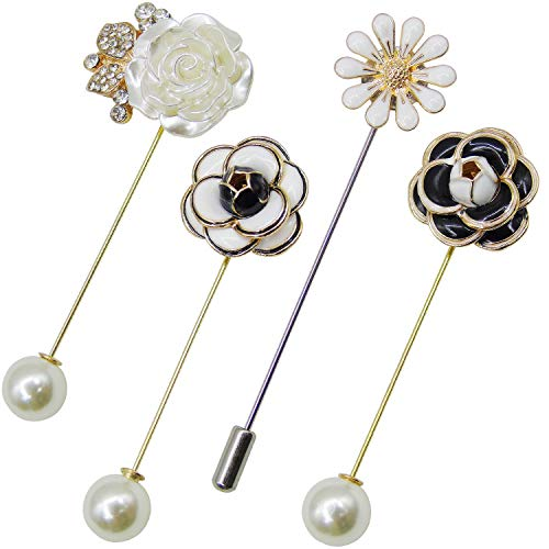4 Pieces Sweater Shawl Clip Pearl Brooches Rhinestone Safety Pins for Women Girls Bouquet Pins Clothing Decoration