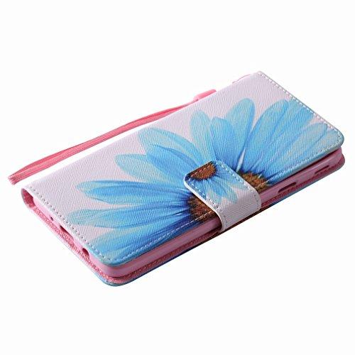 Yiizy Samsung Galaxy J7 Prime / Galaxy On Nxt Custodia Cover, Petali Blu Design Sottile Flip Portafoglio PU Pelle Cuoio Copertura Shell Case Slot Schede Cavalletto Stile Libro Bumper Protettivo Borsa