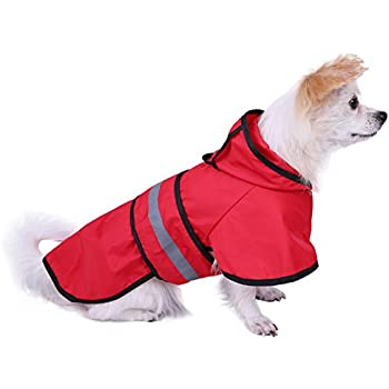 HDE Dog Raincoat Hooded Slicker Poncho for Small to X-Large Dogs and Puppies (Red, Small)