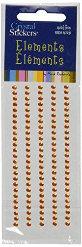 Orange Rhinestone (Mark Richards Elements Crystal Stickers 2521 Self-Adhesive 120-Piece Round Rhinestones Crystal Sticker Strips, 3mm, Orange)