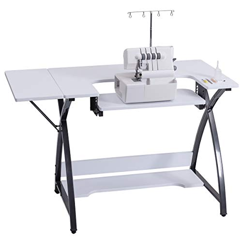Sewing Table Folding (Costway Sewing Craft Table Computer Desk Home Furniture with Adjustable Platform Folding Side Shelf)