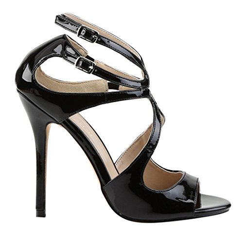Patent Sandal Black Amu15 HP Dress Women's Pleaser w4xRpqZz