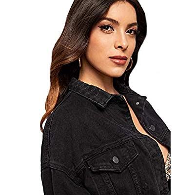 Floerns Women's Casual Drop Shoulder Ripped Crop Denim Jacket at Women's Coats Shop
